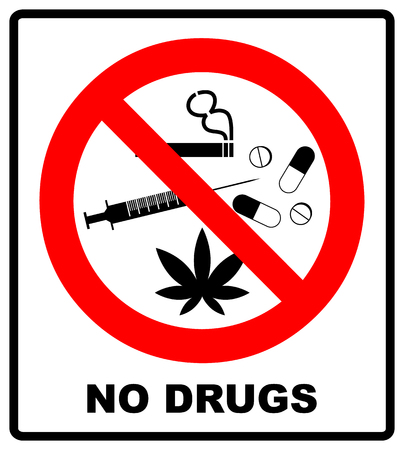 No drugs allowed. No capsule, marijuana, cannabis, tobacco, cocaine and other drugs. Red forbidden symbol. Vector prohibited illustration isolated on white. Warning icon