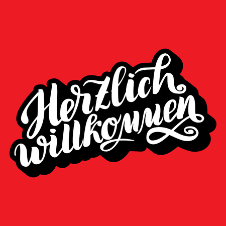 Herzlich willkommen. Welcome. Traditional German Oktoberfest bier festival . Vector hand-drawn brush lettering illustration on red background with volume 3D effect on letters