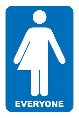 Signe neutre du genre. Signe de toilettes transgenres. Symbole bleu isolé sur blanc Bannière obligatoire. Des toilettes pour tous.