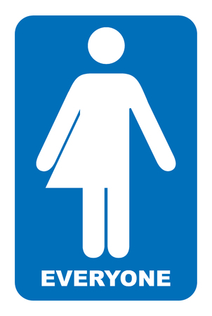 Sinal neutro de gênero. Transgênero, banheiro, sinal Símbolo azul isolado no branco. Banner obrigatório. WC para todos.