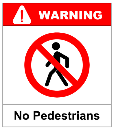 No access for pedestrians prohibition sign, vector illustration. Red forbidden warning symbol isolated on white. Black simple pictogram.