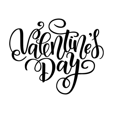 Happy Valentines day vector card. Greeting Card to Day of Saint Valentine. Vector illustration isolated on white. Cute hand-written brush lettering. 14 february post card  イラスト・ベクター素材