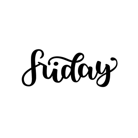 Friday. Handwriting font by calligraphy. Vector illustration isolated on white background. EPS 10. Brush ink black lettering. Day of Week