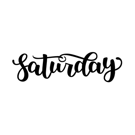 Saturday. Handwriting font by calligraphy. Vector illustration isolated on white background. EPS 10. Brush ink black lettering. Day of Week