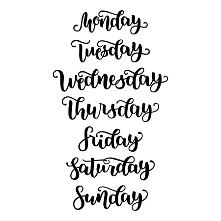 Hand Lettering Days of Week Sunday, Monday, Tuesday, Wednesday, Thursday, Friday, Saturday . Modern Calligraphy Isolated on White Background. Vector illustration. Brush ink handlettering for schedule.