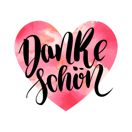 Danke schoen. Thank you in german. Vector hand drawn brush lettering on colorful watercolor heart isolated on white background. Modern handlettering postcard for printing, web pages and others