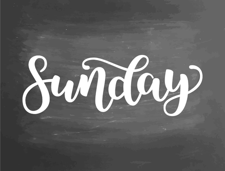 Sunday. Handwriting font by calligraphy. Vector illustration on blackboard background. Vettoriali