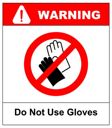 Do not wear gloves, prohibition sign, vector illustration. Warning forbidden symbol for public places. Isolated on white background