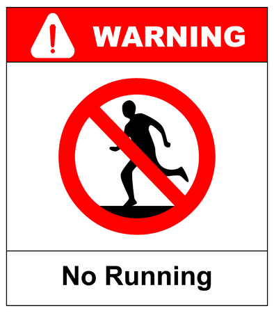 Do not run, prohibition sign. Running prohibited, vector illustration. Vectores