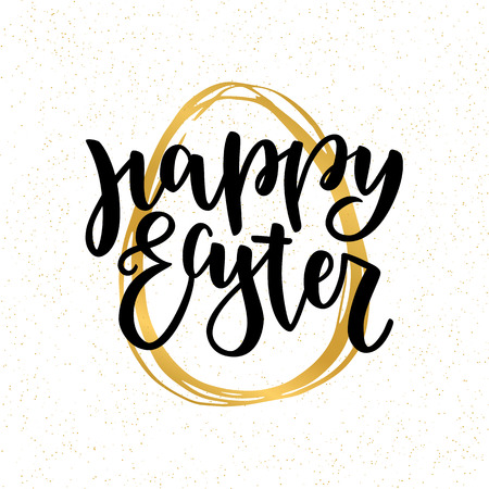 Happy Easter lettering for greeting card with golden handdrawn egg. Vector illustration isolated on white background. Modern black brush ink handlettering Illustration
