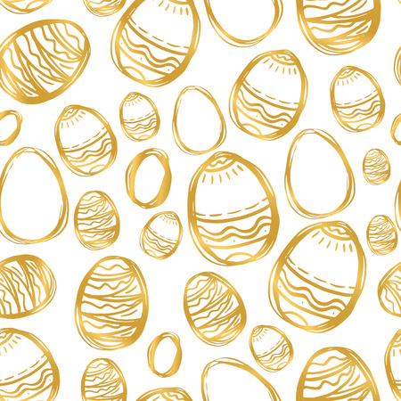 Golden easter eggs and specks, flecks, spots seamless vector pattern. Free hand drawn gold Easter background. Hand drawn painted eggs and uneven speckles, chaotic texture.