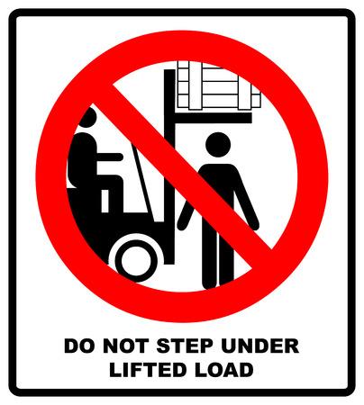 No people under raised forks. Flat vector illustration isolated on white. Warning banner. Prohibition symbol Zdjęcie Seryjne - 95010772
