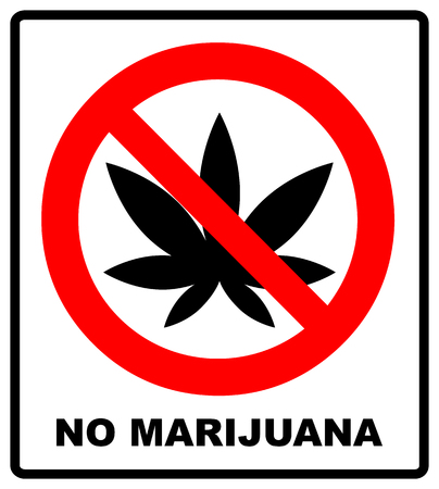 Prohibition sign icon No cannabis