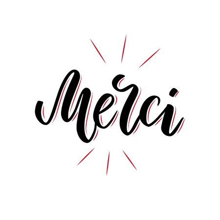 Vector calligraphy. Merci poster or card. Black Letters isolated on the White Background. Thanks in French handlettering. Modern brush lettering Illustration