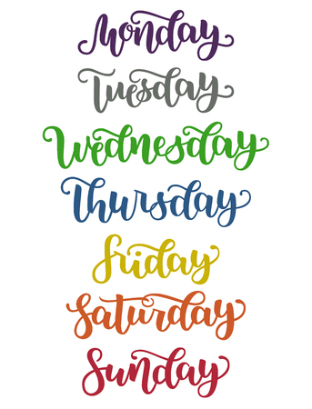 Lettering days of week Sunday, Monday, Tuesday, Wednesday, Thursday, Friday, Saturday. Modern colorful calligraphy isolated on white background vector illustration. Brush ink hand lettering for schedule. Çizim