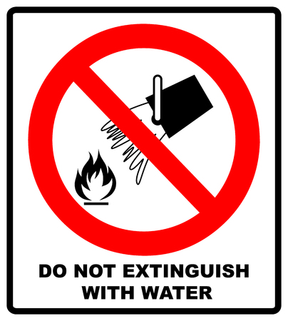 Do not extinguish with water, prohibition sign, vector illustration isolated on white. Warning red banner. Simple flat symbol.