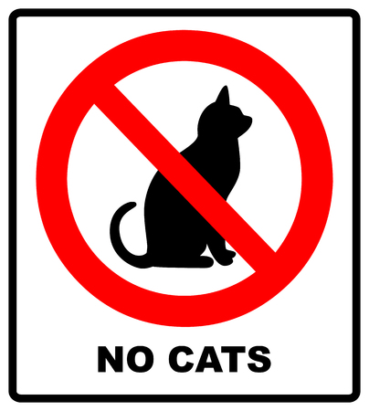 Pas de chats. Interdire l'emplacement des panneaux ou l'entrée d'animaux de compagnie à ce point ou territoire. Illustration vectorielle isolée sur blanc. Symbole d'interdiction rouge d'avertissement Banque d'images - 97655748