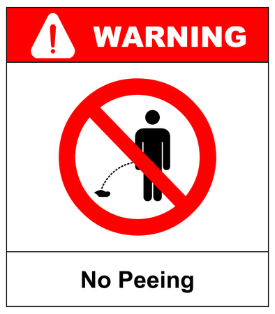 No peeing vector sign illustration isolated on white background. No urinating on floor sign, impolite behavior pictogram. Warning forbidden red symbol for forests and public places, ready to use