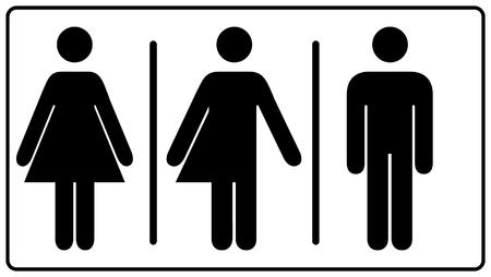 All gender restroom isolated on white background. Illustration