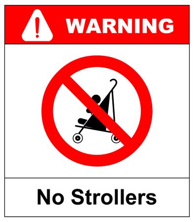 No strollers or pushchair, warning illustration.