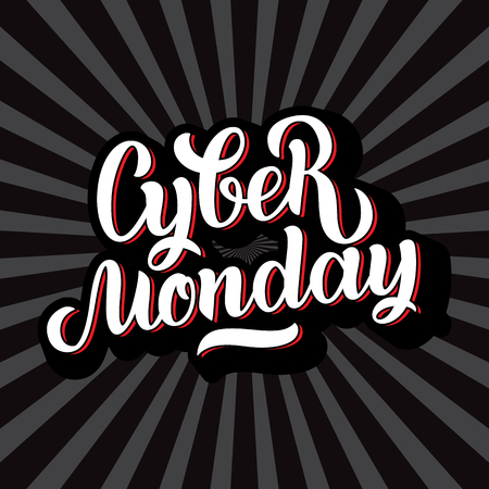 Cyber Monday Sale handmade lettering, calligraphy background for logo, banners, labels, badges, prints, posters, web.  illustration white letters in black