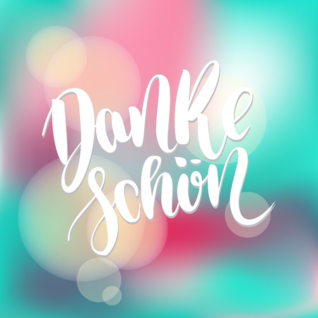 Danke schoen. Thank you in german.  hand drawn brush lettering on colorful background. Stok Fotoğraf