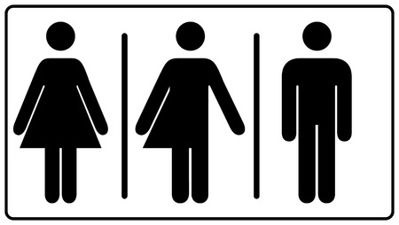 All gender restroom sign. Male, female transgender.  illustration. Black symbols isolated on white. Mandatory banner. Set of female, male and transgender people silhouettes Zdjęcie Seryjne