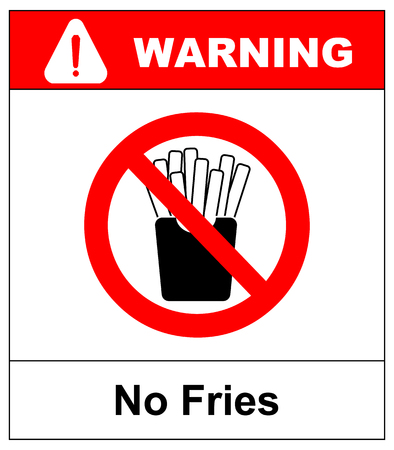 Stop French fries. Ban fatty fast food. Sliced potatoes in paper box. Emblem against eating. Red prohibition sign. Prohibited noxious meal