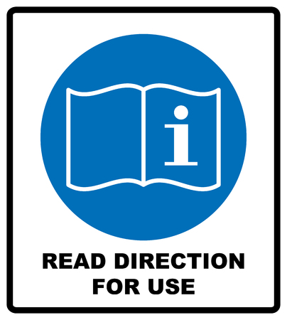 Read direction for use icon. Refer to instruction manual booklet mandatory sign, General mandatory action sign.  illustration isolated on white Stock Photo