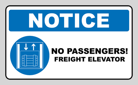 Symbol freight elevators and lifts only,  illustration isolated on white. Blue mandatory symbol. White simple pictogram. Stock Photo