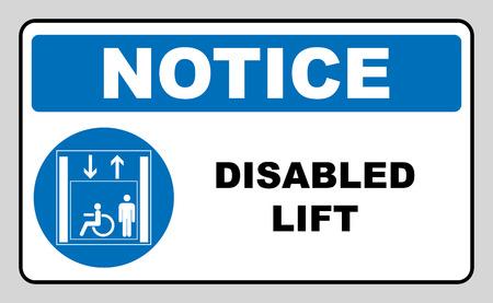 Passengers elevator sign. Lift  icon.  illustration isolated on white background. Blue mandatory symbol. Notice banner. White simple pictogram.