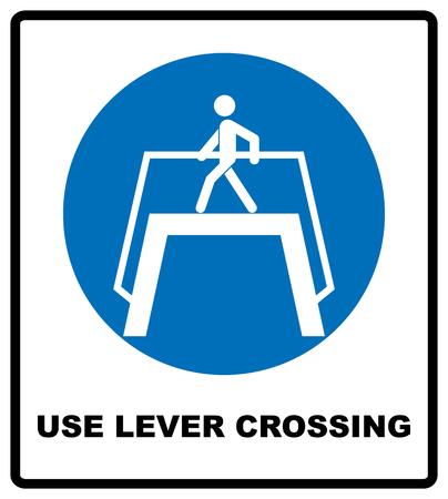 Use level crossing sign. Blue mandatory symbol. Pedestrian cross walking.  illustration isolated on white. White simple pictogram. 스톡 콘텐츠