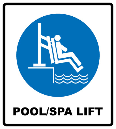 Pool and spa lift for disabled sign. Disability people information flat icons isolated on white background. Blue mandatory symbol. White simple pictogram. Notice banner.