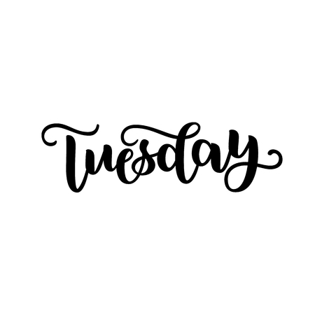 Tuesday. Handwriting font by calligraphy.  illustration isolated on white background. EPS 10. Brush ink black lettering. Day of Week 스톡 콘텐츠