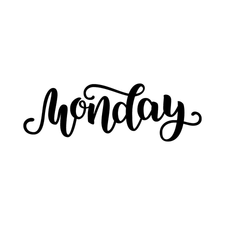 Monday. Handwriting font by calligraphy.  illustration isolated on white background. EPS 10. Brush ink black lettering. Day of Week