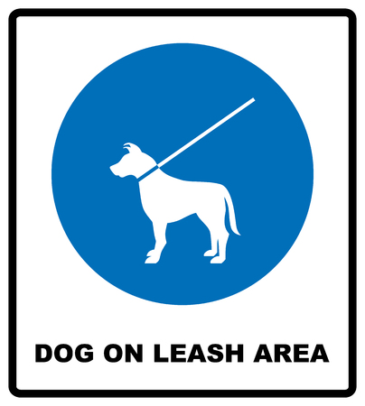 Dog on leash area icon. Dogs allowed sign.  illustration isolated on white. Blue mandatory symbol with white pictogram and text. Notice banner.