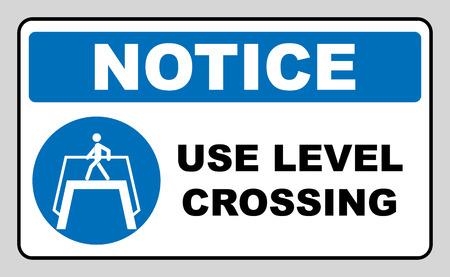Use level crossing sign. Blue mandatory symbol. Pedestrian cross walking.  illustration isolated on white. White simple pictogram. Stock Photo