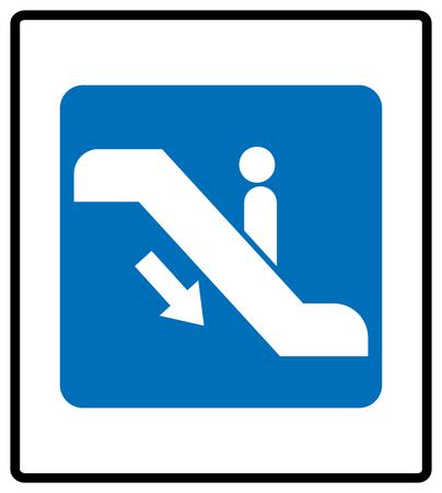Escalator goes up sign.  illustration isolated on white Blue mandatory information symbol. White pictogram