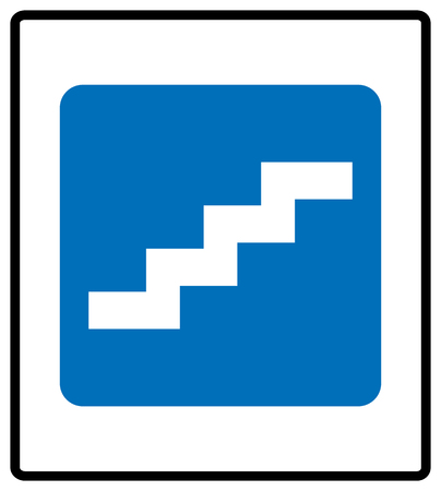 Stair up sign.  illustration isolated on white background. White simple pictogram icon in blue rectangle at white background. Mandatory informational symbol for public places.