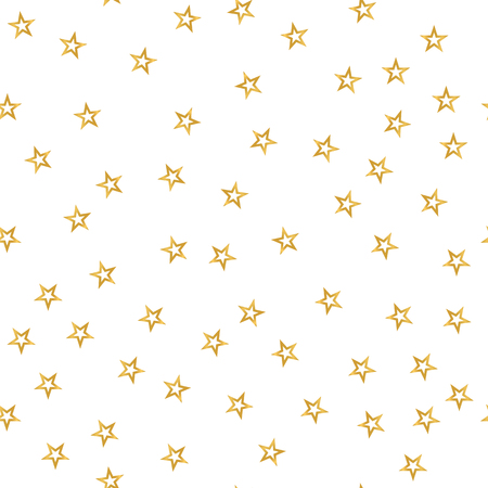 Seamless pattern of decorative golden stars on a white background.  illustration for holiday, new year, gift package and design. Simple merry christmas wallpaper. Stock Photo
