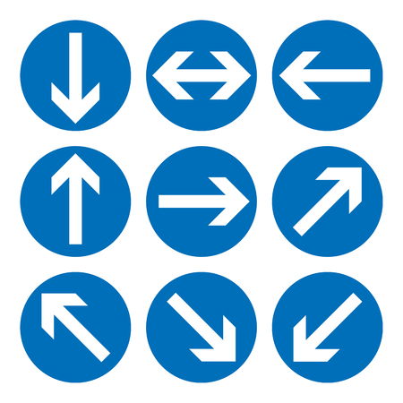Set of direction signs. Blue circle mandatory informational symbols.  illustration isolated on white. White simple arrows. Notice icons. Collection arrows in different directions. Stock Photo