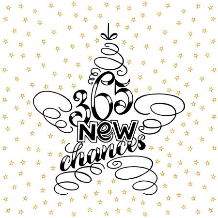365 chances New Year Lettering in form of star tree toy, Greeting Card design star tree toy text frame isolated on white with gold stars on background. illustration. Christmas Sign Painting. 스톡 콘텐츠