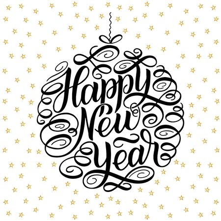 Happy New Year, lettering Greeting Card design circle text frame on shadows. illustration.