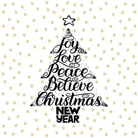 Joy, love, peace, believe, christmas, new year. Handwriting lettering for greeting card, invitation, print, poster. Typography holiday message. Merry Xmas and Happy New Year illustration. Stock Photo