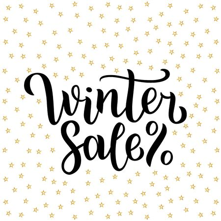 Winter sale lettering design. illustration isolated on white with golden stars on background. Happy New Year and Merry Christmas Seasonal Sale. Holiday winter off-price