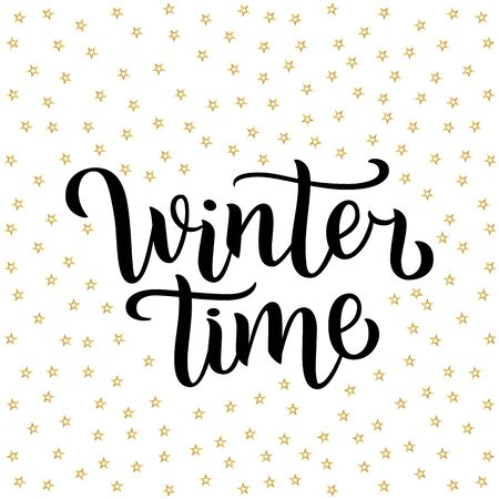 Winter time custom white lettering text on white background with golden stars, illustration. Calligraphy for logo, invitation, poster, decoration and postcards. Simple style brush script.