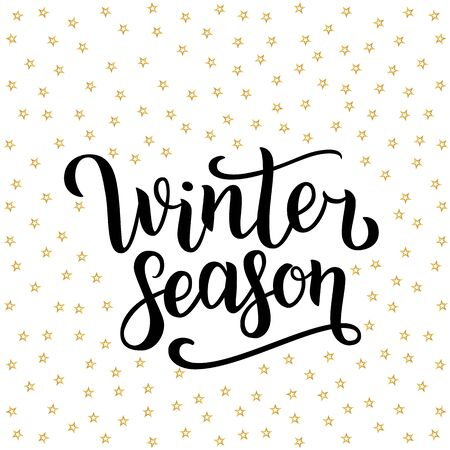 Winter season hand drawn lettering isolated on white background with golden stars. illustration. Use for greeting cards, posters, banners and flyers. Xmas design