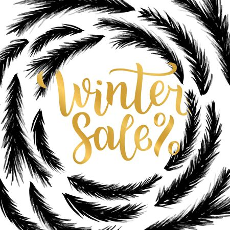 Winter sale lettering design. illustration, gold letters with christmas tree branches frame background. Happy New Year and Merry Christmas Seasonal Sale. Holiday winter off-price