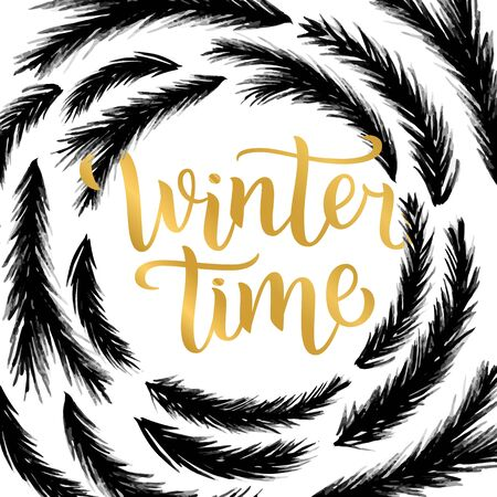 Winter time lettering design. illustration, gold letters with christmas tree branches frame background. Happy New Year and Merry Christmas Seasonal Sale. Holiday winter off-price