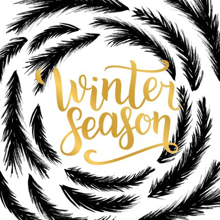 Winter season lettering design. illustration, gold letters with christmas tree branches frame background. Happy New Year and Merry Christmas Seasonal Sale. Holiday winter off-price Stock Photo